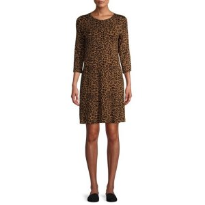 Product image of Walmart Time and Tru 3/4 Sleeve Knit Dress Leopard Print