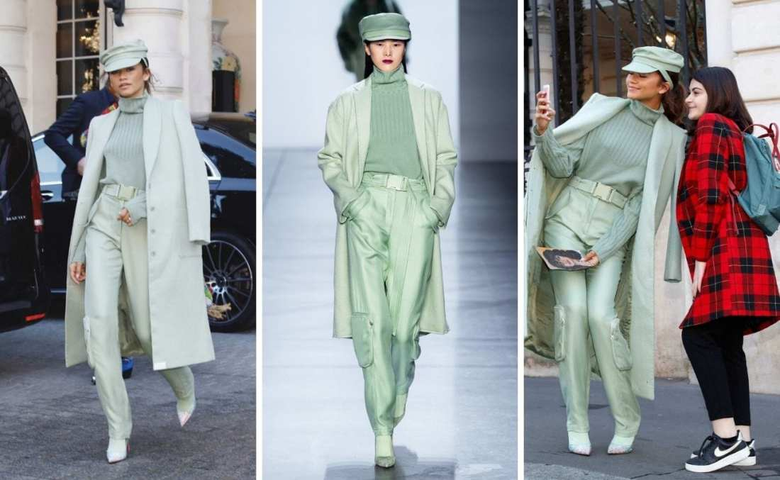 Click the image to save Zendaya wearing pistachio trend monochrome outfit to Pinterest