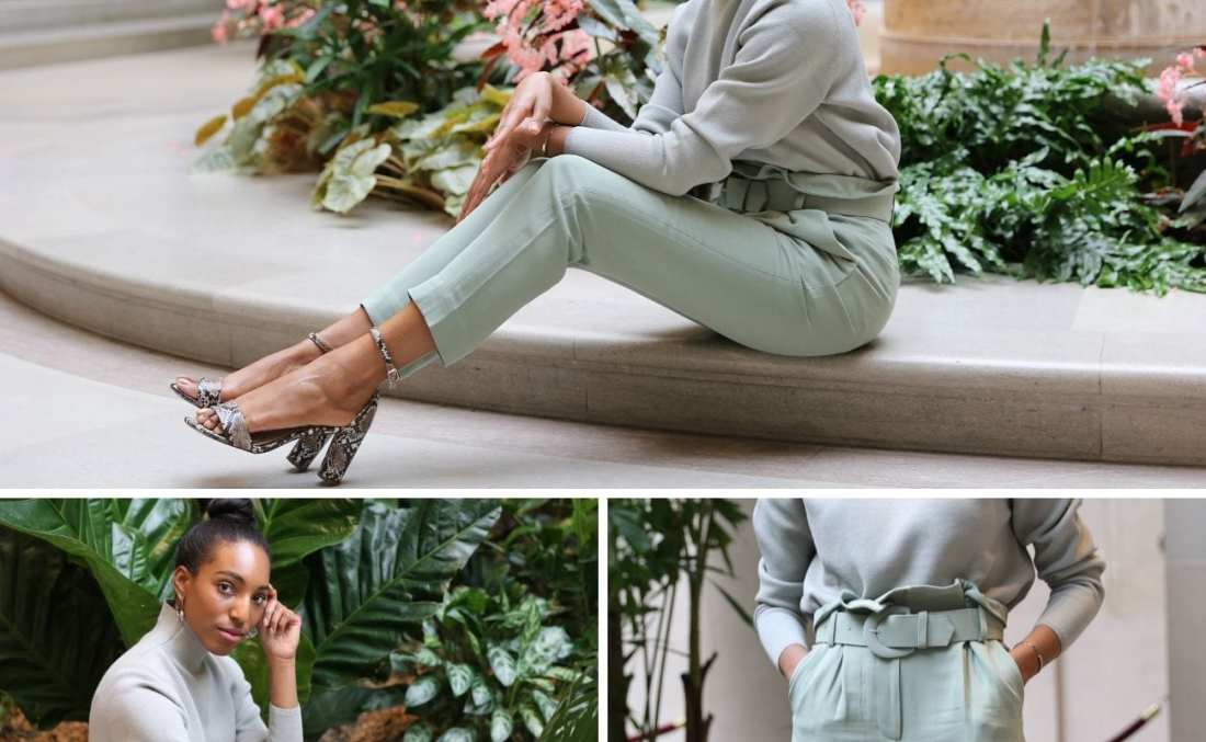 Lana Jackson collage image modeling pistachio trend outfit and snakeskin print heels