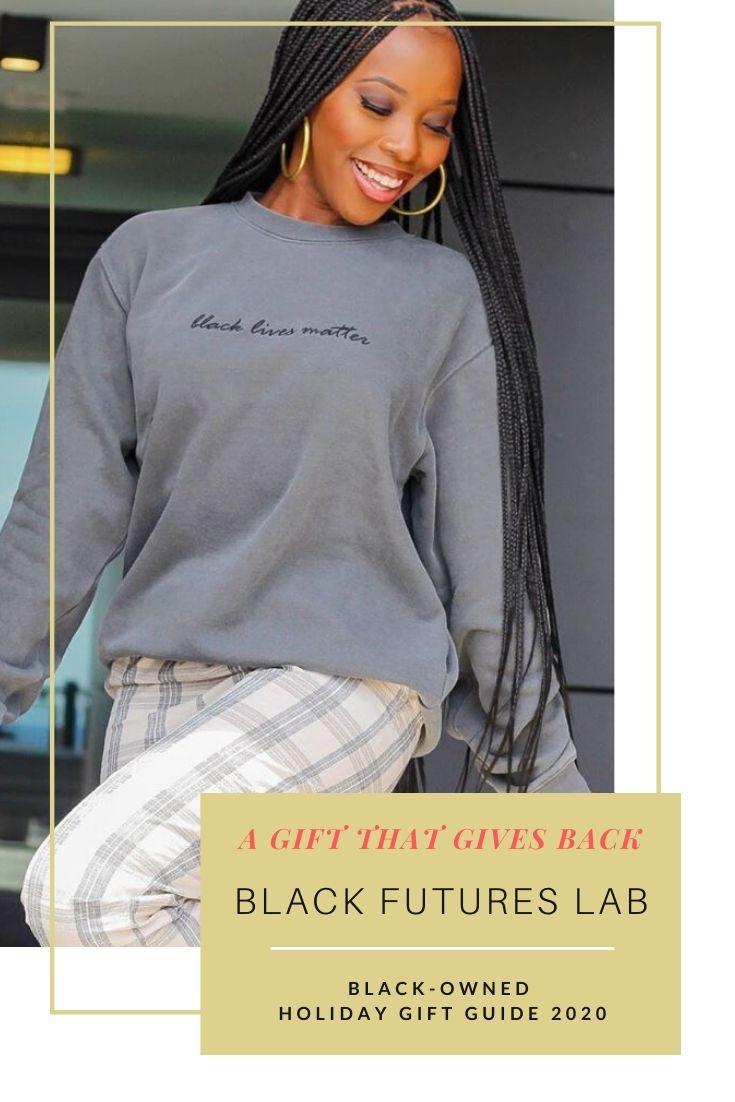 Holiday 2020 product image of black female model wearing Black Lives Matter sweatshirt