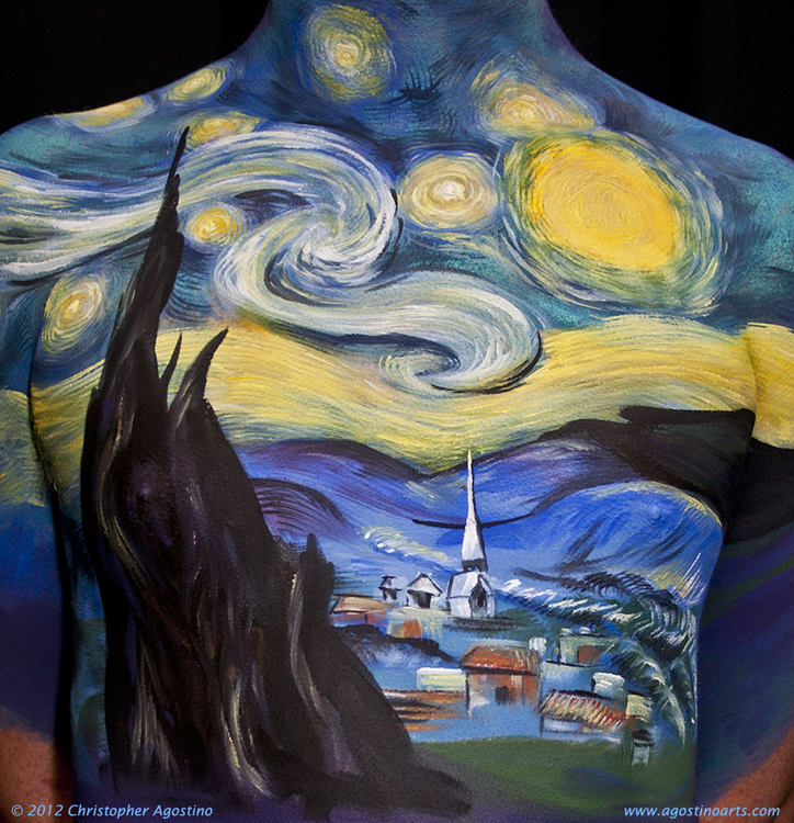Van Gogh Starry Night — Body Painting At FABAIC 2012 With ...