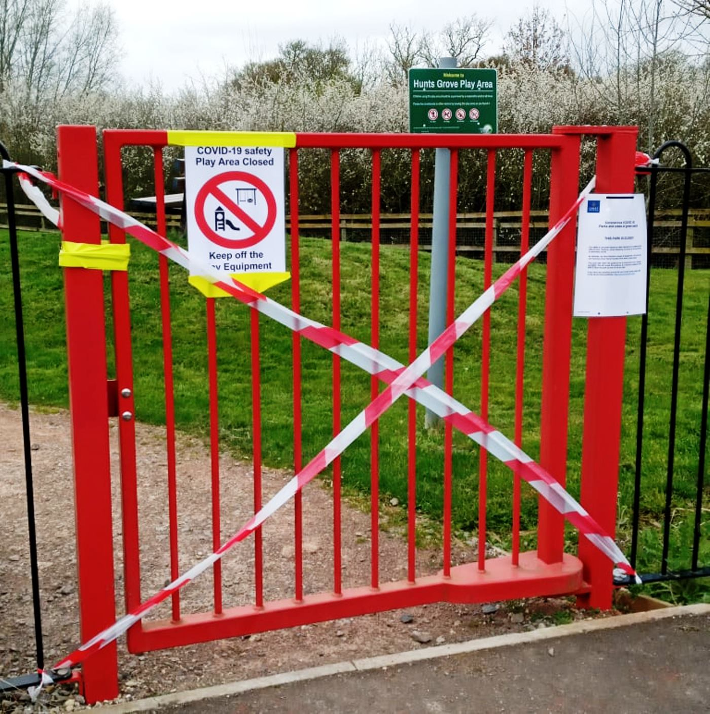 red playground gate
