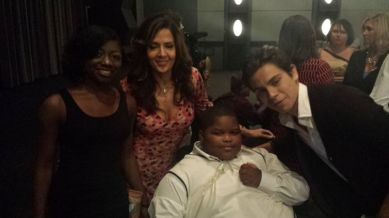 Aurie Parris, Maria Canals Barrera of Wizards of Waverly Place, Xzavier Davis-Bilbo, and Ryan Beatty at the premiere of 'From One Second to the Next' by critically acclaimed German director Werner Herzog.