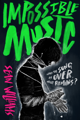 Impossible Music by Sean Williams cover shows a silhouette of a boy with an ear bud cord wrapped around his face and wrists.
