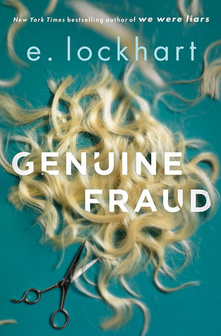 Genuine Fraud by E. Lockhart cover shows a pile of blond hair clippings and a discarded pair of scissors.