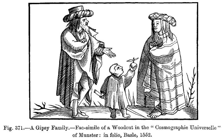"Sebastian Münster (1552), ""A Gipsy Family."""