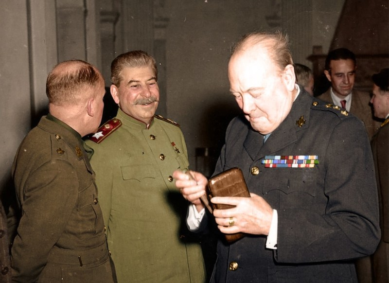Stalin and Churchill blowing off steam at the Tehran Conference