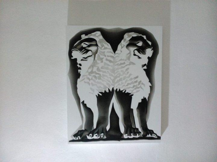 """Recursive Lions."" acrylic on panel, 61 x 77 cm."