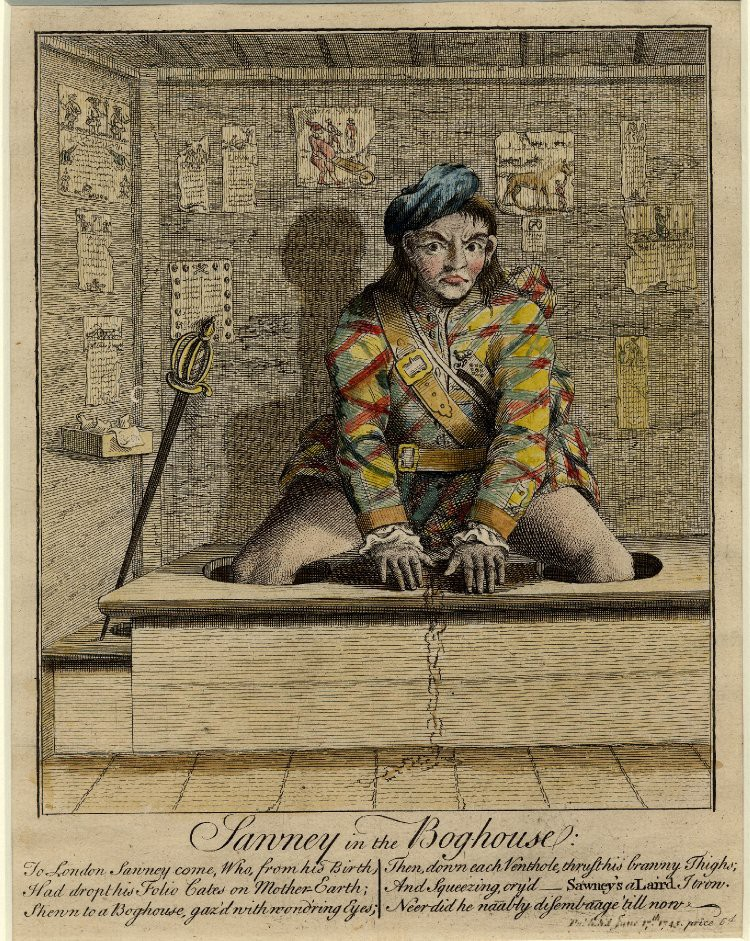 """""""Sawney in the Bog-house""""—anonymous etching from 1745"""