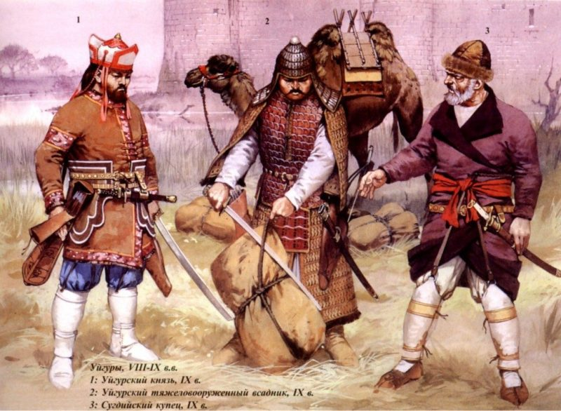 A Uigur prince, a Uigur heavy cavalryman, and a Sogdian merchant—all from cultures closely related to the Yuezhi.