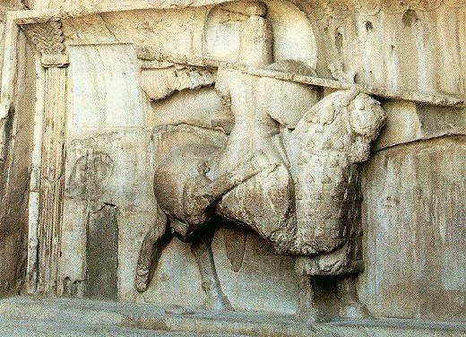 A Sasanian king posing as an armored cavalryman, Taq-e Bostan, Iran