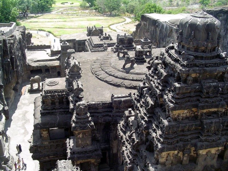 The Kailasa Temple in Ellora, built in the 700s CE by the Rashtrakutas, is clearly influenced by Gupta-period architecture.