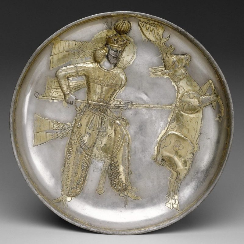 The Sasanian king Yazdgard I, slaying a stag