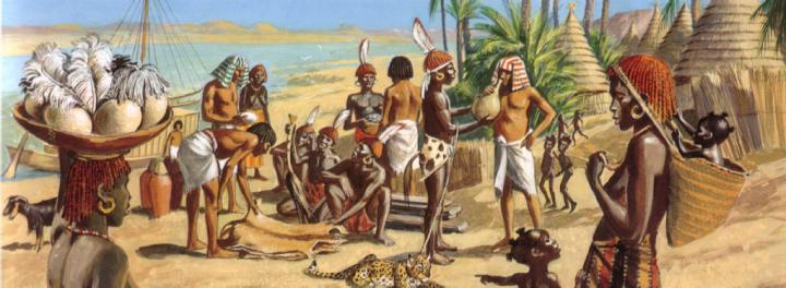 Egyptians trading with Kushites