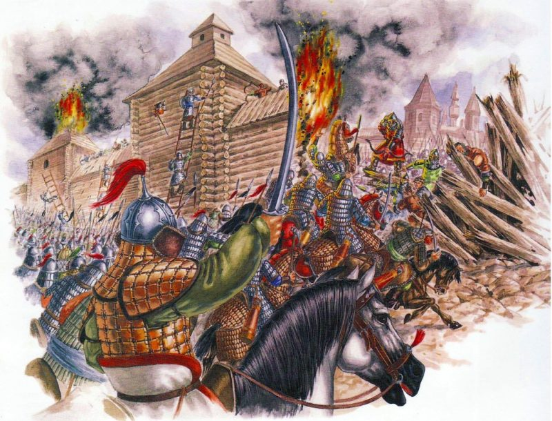 The Mongol army lays siege to a Russian city.
