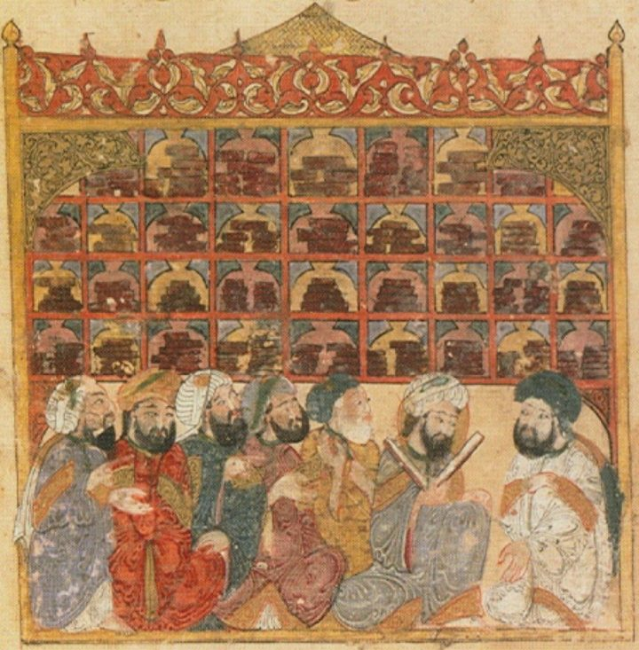 Scholars at an Abbasid library, from the Maqamat of al-Hariri by Yahya ibn Mahmud al-Wasiti, Baghdad (1237).