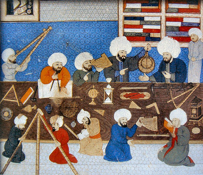 Islamic astronomers take measurements on their sextants and astrolabes.