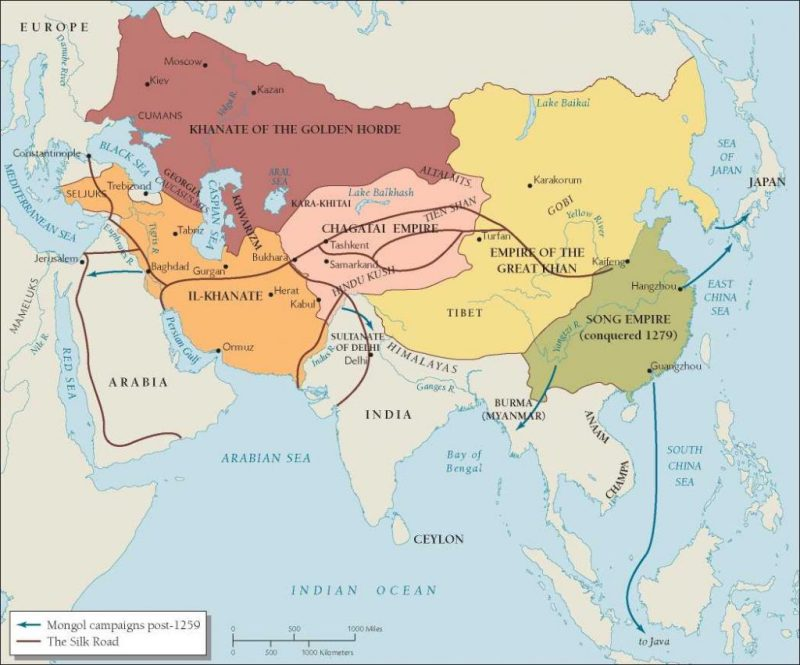 The Mongol Khanates' division of Asia in 1259.