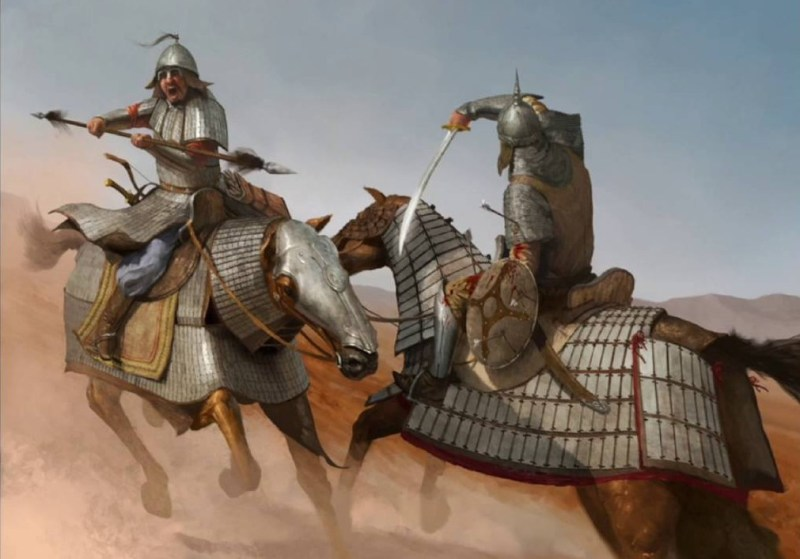 Two Persian knights clash.