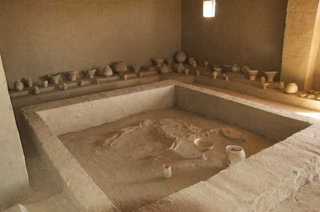 A reconstructed horse burial in a house (or temple?) at Gonur