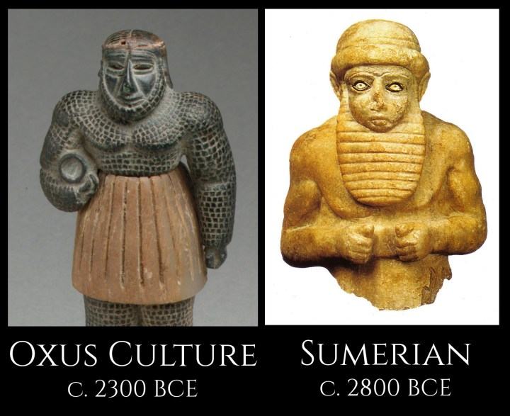 An Oxus Civilization sculpture of a bearded man, and a sculpture from the Sumerian city of Uruk, both in the 2000s BCE.