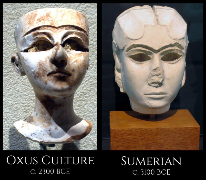 A carving of a woman's head from the Oxus Civilization, found at Gonur, and one from the Sumerian city of Uruk.