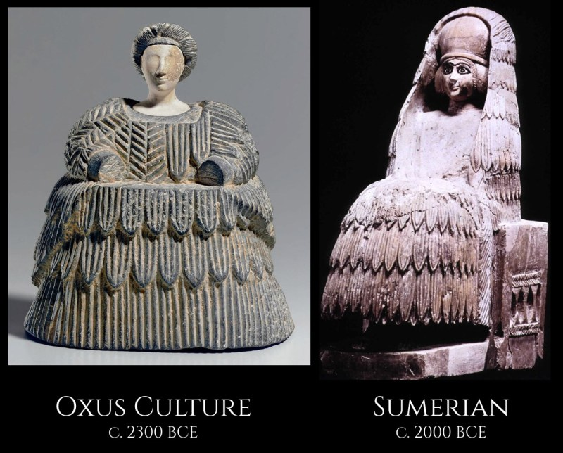 A comparison of a statue of a woman from the Oxus Civilization, found at Gonur, and a Sumerian statue of a priestess, from the city of Mari.