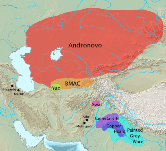 The range of the Andronovo culture at its greatest extent