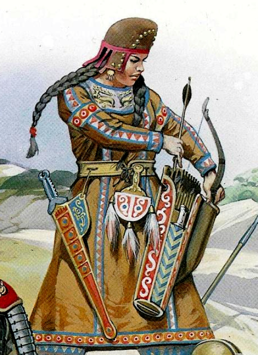Scythians: A female Scythian warrior.