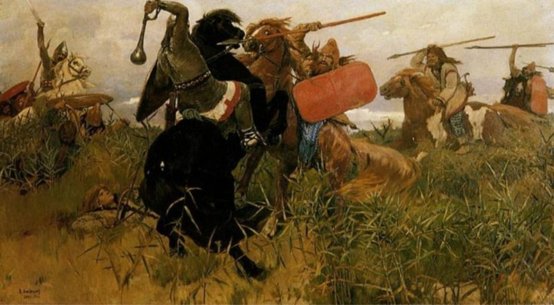Scythians: Scythian warriors battling Slavic horsemen.