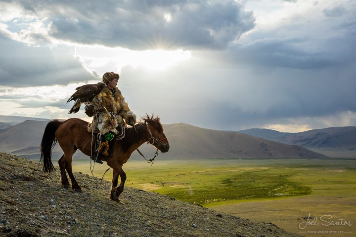 An eagle hunter in modern-day Mongolia.