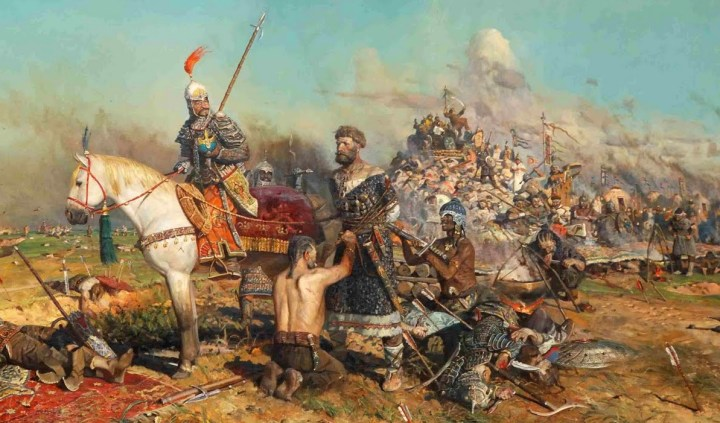 "A Mongol raiding party captures the Grand Prince Mtislav of Kiev in 1132 CE. Note the many ethnicities and clothing styles of the ""Mongol"" warriors — a variability that was often seen on the steppe."