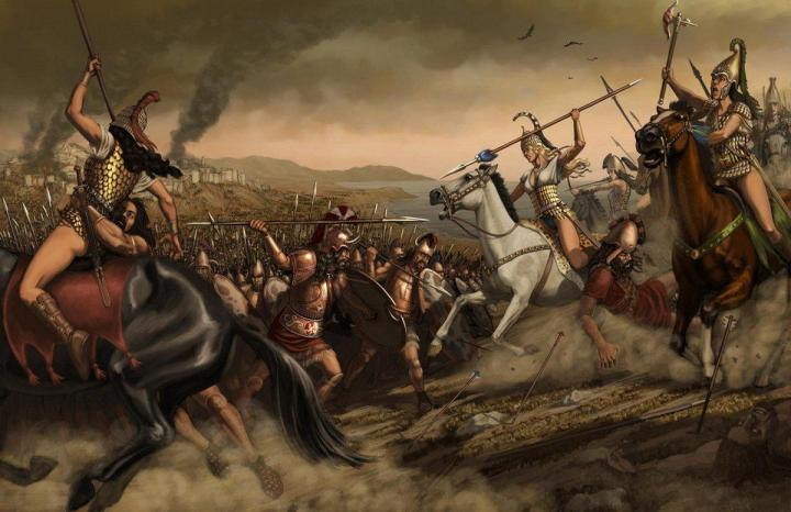 Scythian warrior women battling Sarmatians on the Russian steppe.