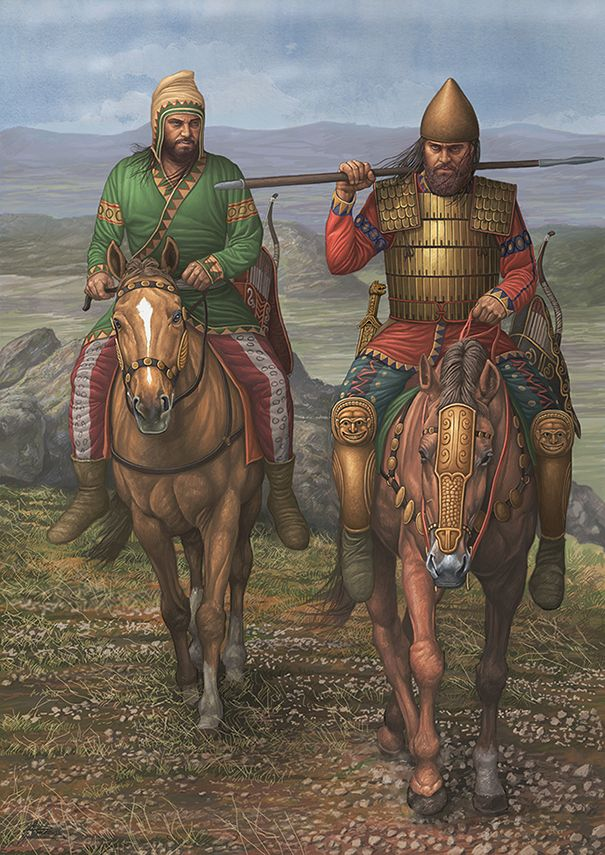 Scythian warriors on horseback.