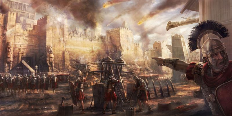 The Roman army besieges the walls of a Persian palace.