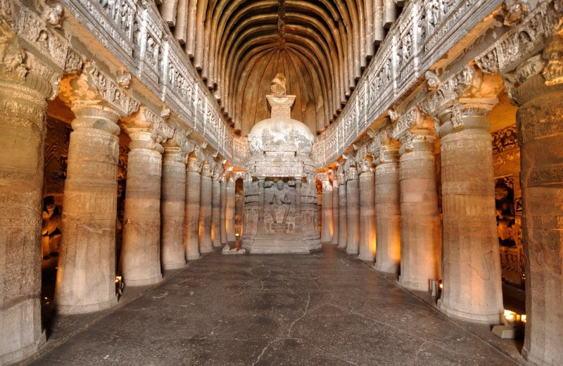 Greco-Bactrian architecture in Aurangabad Caves, India.