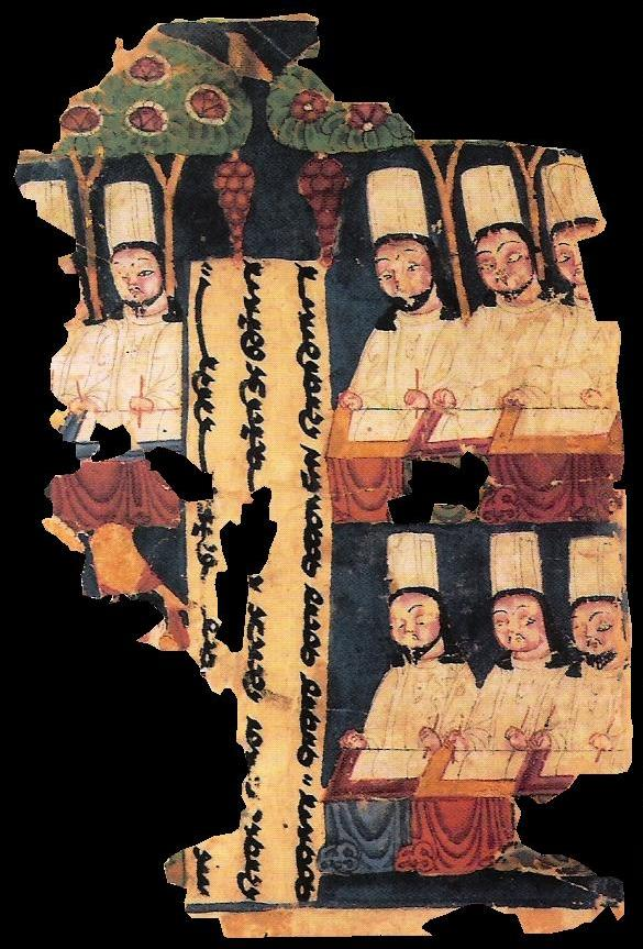 Manichaean priests writing Sogdian manuscripts, in Khocho, Tarim Basin, c. 8th/9th century AD