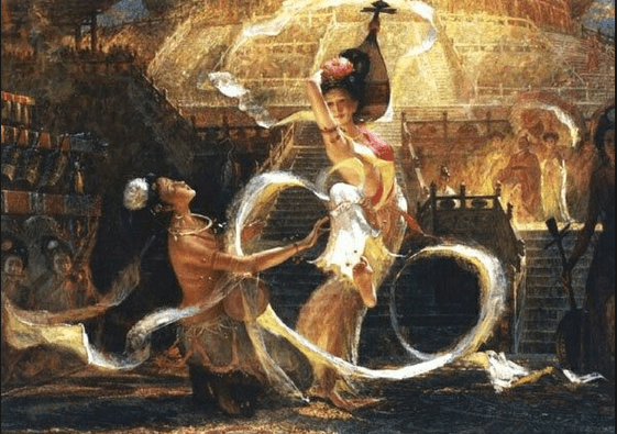 """A Sogdian woman does the dance known as the """"Sogdian Whirl,"""" which was wildly popular all along the Silk Road. Unfortunately, the Sogdians didn't record its steps, so no one has known how to do it for more than 1,000 years."""