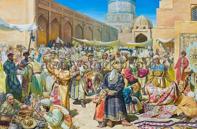 This painting depicts the market in Samarkand a few centuries after the Sodgians... but still thriving.