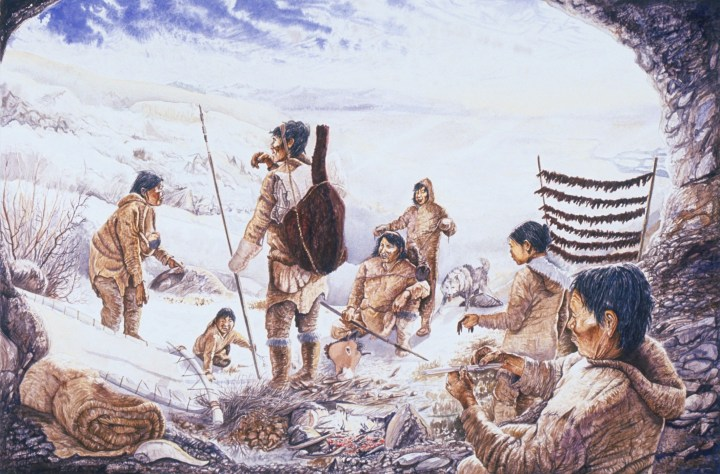 Native American history: A family of hunters stop to set up camp on their way across Beringia.