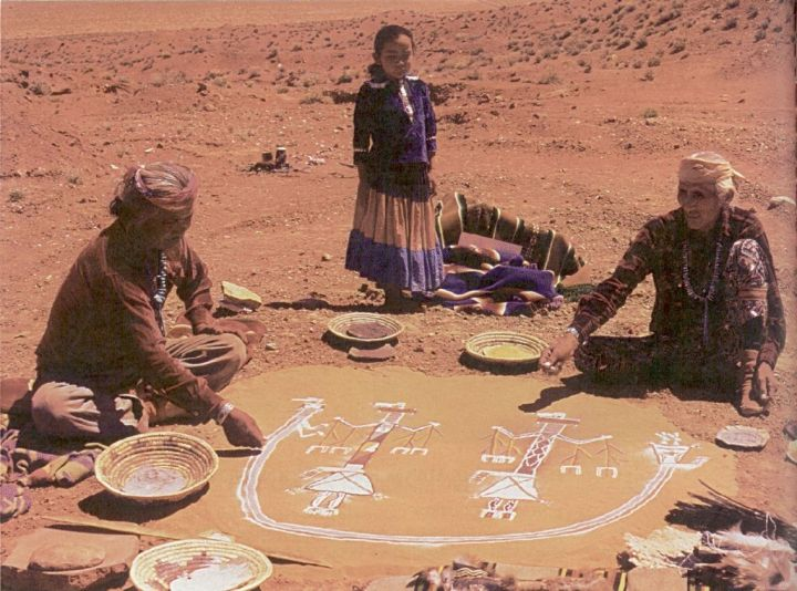 "O'odham people (""Pima Indians"") perform a ceremony in the Arizona desert"