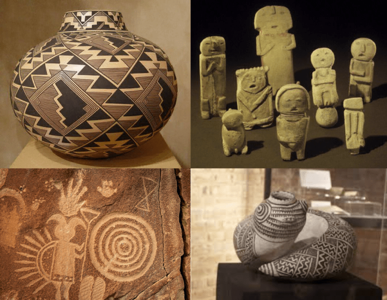 Pottery, sculpture and petroglyphs created by artists at Mesa Verde