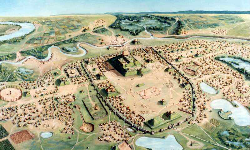The planned Mississippian city of Cahokia, as seen from above.