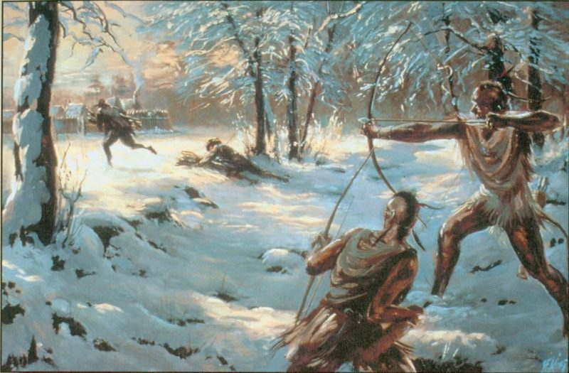 Wampanoag warriors attack an English colonist