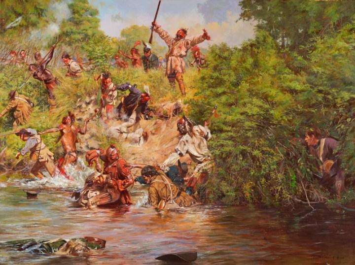 Haudenosaunee (Iroquois) warriors defeating European colonists