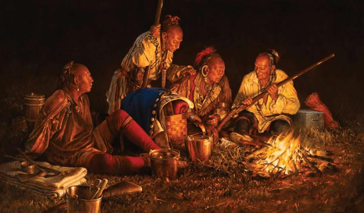 Haudenosaunee (Iroquois) warriors rest around a campfire