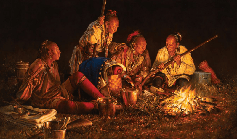 Haudenosaunee (Iroquois) warriors rest around a campfire
