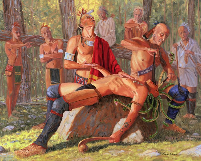 Hiawatha combs out the tangled snakes of Tadadaho's hair