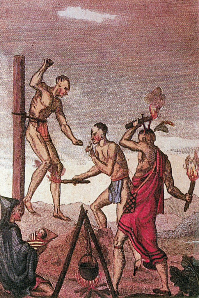 Haudenosaunee (Iroquois) warriors torture a prisoner of war