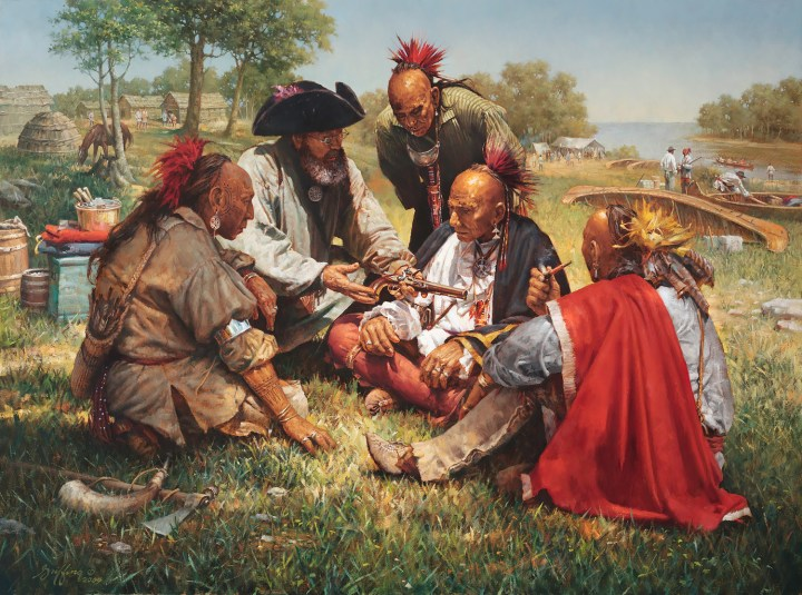 A European trader parlays with Haudenosaunee (Iroquois) men